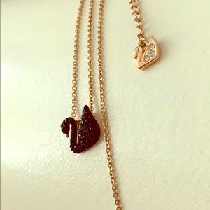 Swarovski black swan necklaces rose gold